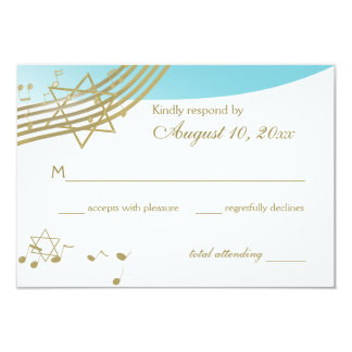 Music in the Air Bat Mitzvah Response 3.5x5 Paper Invitation Card