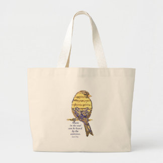 Music in the Soul Quote & Music Note Bird Large Tote Bag