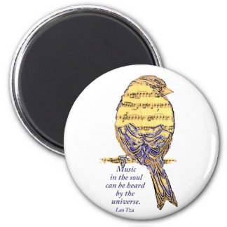 Music in the Soul Quote & Music Note Bird Magnet
