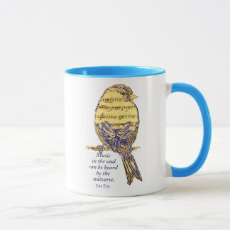 Music in the Soul Quote & Music Note Bird Mug