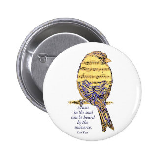 Music in the Soul Quote & Music Note Bird Pinback Button