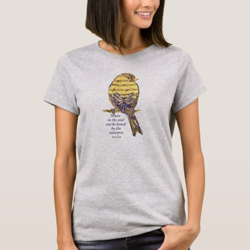 Music in the Soul Quote  Music Note Bird T_Shirt