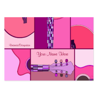 Music Industry Pop Art Guitar in Pinks and Purple Large Business Card