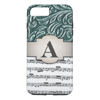 Music Initial Shades of Green Vintage Scrollwork iPhone 8 Plus/7 Plus Case