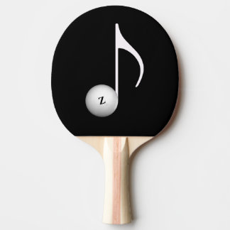 music inspired black ping pong paddle