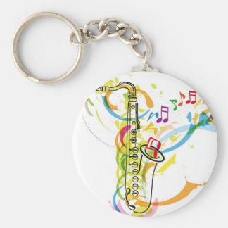 Music Instrument illustration Basic Round Button Keychain