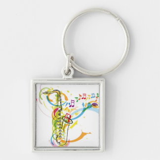 Music Instrument illustration Silver-Colored Square Keychain