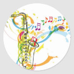 Music Instrument illustration Classic Round Sticker