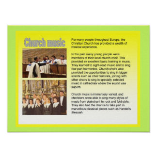 Music, instruments, Church music Posters