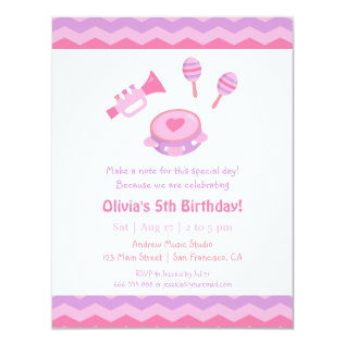 Music Instruments Girls Birthday Party Invitations at Zazzle