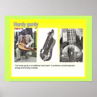"Music, instruments, ""Hurdy Gurdy"" player Print"