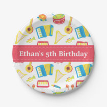 Music Instruments Pattern Kids Birthday Party Paper Plate