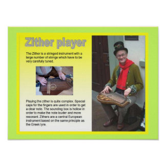 Music, instruments, Zither player Posters