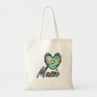 Music invert heart wing below nebula 1 budget tote bag