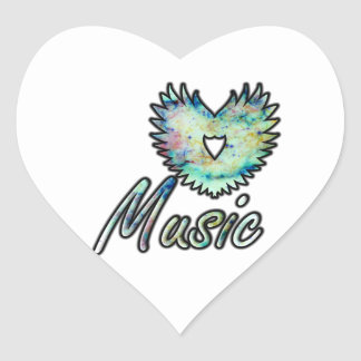 Music invert heart wing below nebula 1 heart sticker