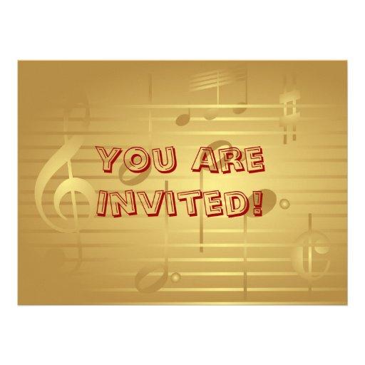 Music Invitation - Gold Music Note Invitation