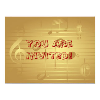 Music Invitation - Gold Music Note Invitation