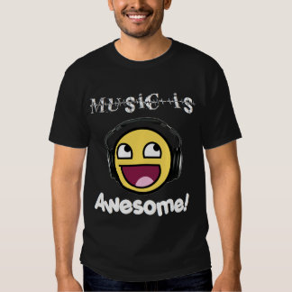 Music Is Awesome! Smiley (Men's Dark) T Shirt