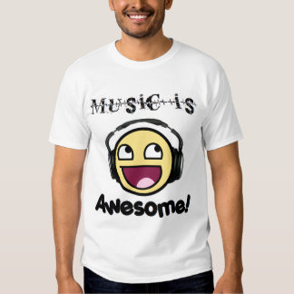 Music Is Awesome! Smiley (Men's Light) T-shirt