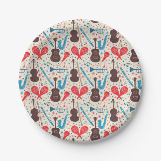 Music is Everywhere Pattern Paper Plate