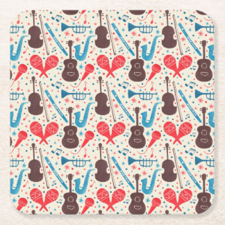 Music is Everywhere Pattern Square Paper Coaster