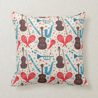Music is Everywhere Pattern Throw Pillow