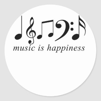 Music is Happiness Classic Round Sticker