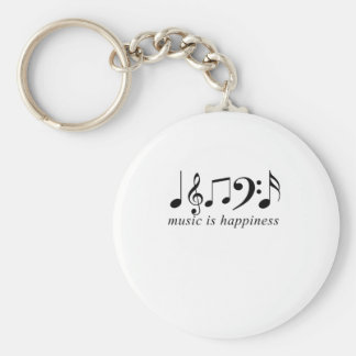 Music is Happiness Basic Round Button Keychain