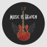 Music is Heaven Sheet of 20 Round Stickers