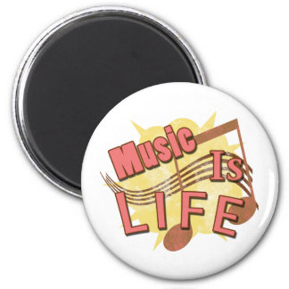 Music Is Life 2 Inch Round Magnet