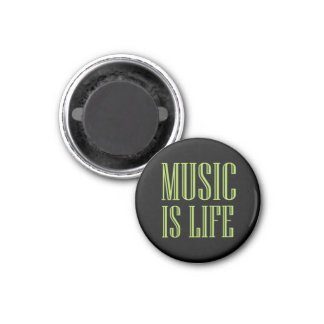 """Music Is Life"" Black And Green Magnet"