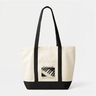 Music is Life Black and White Tote