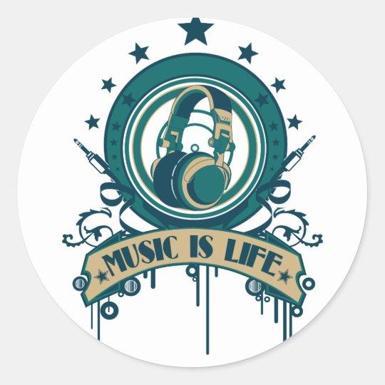 Music Is Life Classic Round Sticker