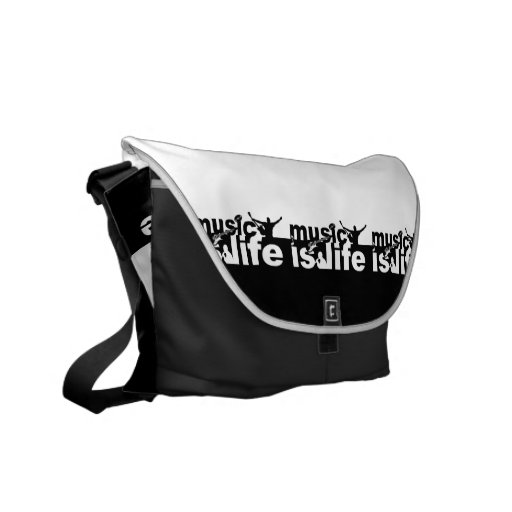 MUSIC IS LIFE custom messenger bag