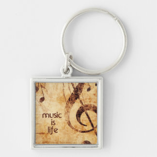 Music is Life Silver-Colored Square Keychain