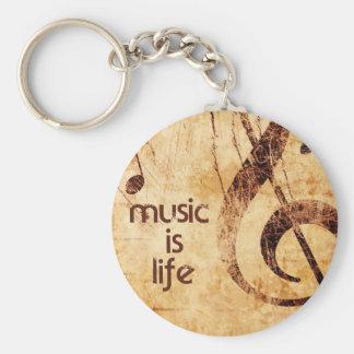 Music is Life Basic Round Button Keychain