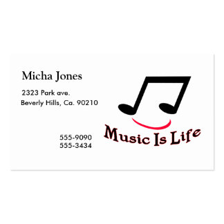 Music Is Life Musical Note Smiley Business Card Templates