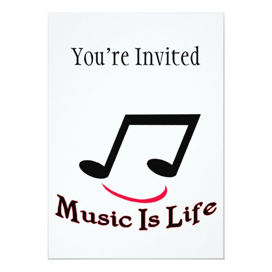 Music Is Life Musical Note Smiley Card
