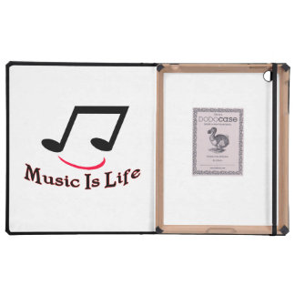 Music Is Life Musical Note Smiley iPad Folio Case