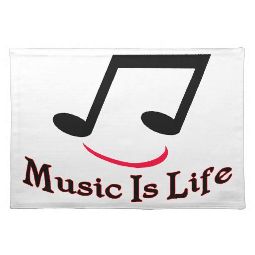 Music Is Life Musical Note Smiley Cloth Place Mat