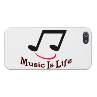 Music Is Life Musical Note Smiley iPhone 5 Cases