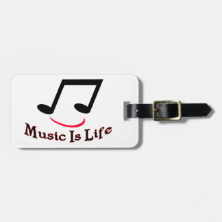 Music Is Life Musical Note Smiley Luggage Tag