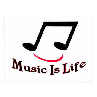 Music Is Life Musical Note Smiley Postcard