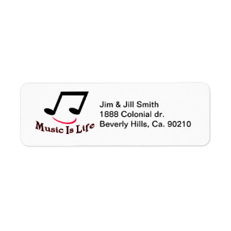Music Is Life Musical Note Smiley Return Address Label