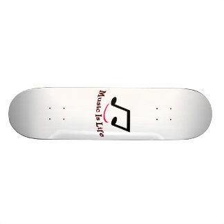 Music Is Life Musical Note Smiley Skateboard Deck