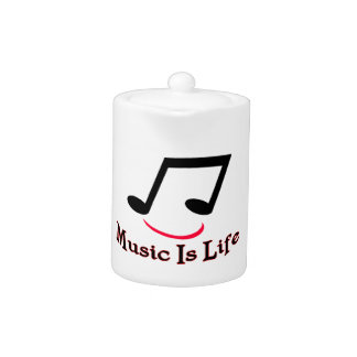 Music Is Life Musical Note Smiley Teapot