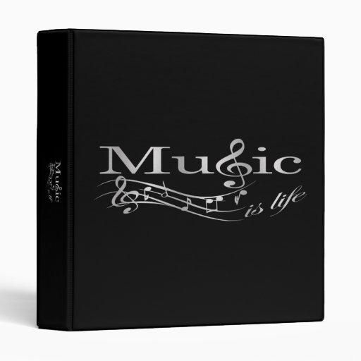 Music is Life - Silver Logo 3 Ring Binder