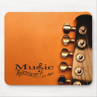 Music is Life with Guitar Machine Head Mouse Pad