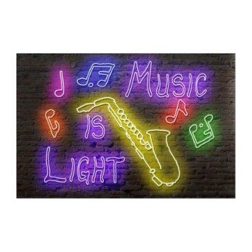 Art Themed Music is Light - Saxophone Acrylic Wall Art