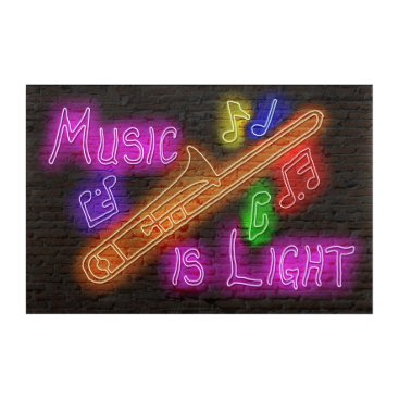 Art Themed Music is Light - Trombone Acrylic Wall Art